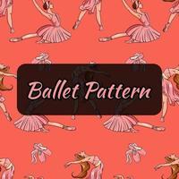 padrão com tema de balé. bailarinas e sapatilhas de ponta. padrão sem emenda. vetor