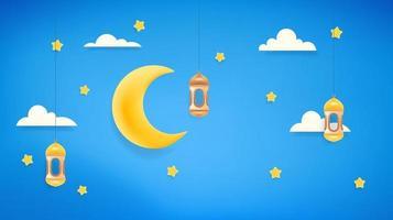 decoração islâmica de feriados. banner de vetor com lua e estrelas. ilustração de efeito de plasticina