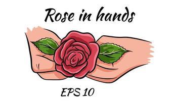rosa vermelha em mãos femininas. desenho romantic.isolated sobre um fundo branco. vetor