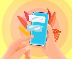 bate-papo online via internet em smartphone moderno. ilustração vetorial de estilo moderno vetor