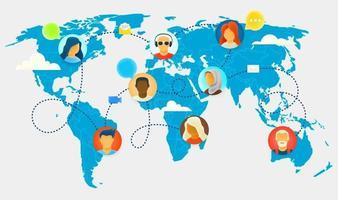 colegas de trabalho funcionam via conexão com a internet. diálogo online vetor