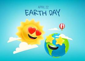 banner de vetor de feliz dia da terra com quadrinhos sol e terra