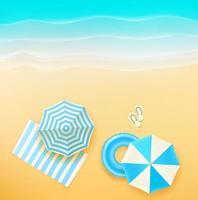 bela praia com diferentes objetos de verão vetor