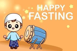 lindo menino muçulmano com tambor de mesquita em jejum feliz na ilustração dos desenhos animados ramadan kareem vetor
