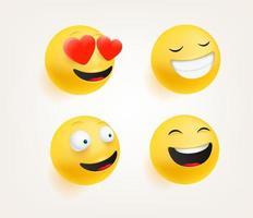 emoticons em vetor de estilo 3d fofo conjunto isolado no branco. amor, risada, sorrindo