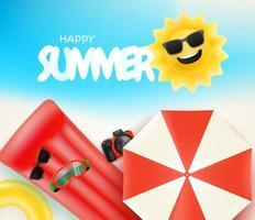 ilustração vetorial feliz temporada de verão com diferentes coisas de praia vetor