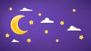 decoração do ramadã. banner de vetor com lua e estrelas. ilustração de efeito de plasticina
