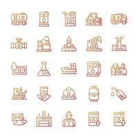 conjunto de ícones da indústria de petróleo com estilo gradiente. vetor