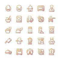 conjunto de ícones de cozinha com estilo gradiente. vetor