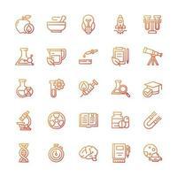 conjunto de ícones de ciência com estilo gradiente. vetor