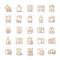 conjunto de ícones de lixo com estilo gradiente. vetor