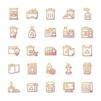 conjunto de ícones de resíduos com estilo gradiente. vetor