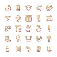 conjunto de ícones de barbearia com estilo gradiente. vetor