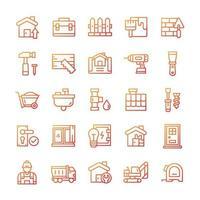 conjunto de ícones de casa e renovação com estilo gradiente. vetor