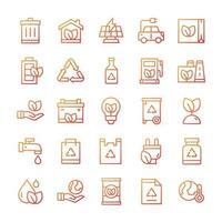 conjunto de ícones de ecologia com estilo gradiente. vetor