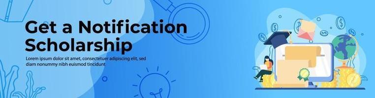 design de banner web bolsa de estudos vetor