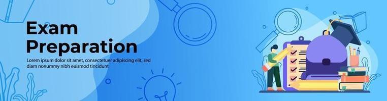design de banner web de preparação para o exame vetor