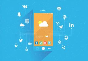 Conjunto de ícones de mídias sociais Vector Background azul