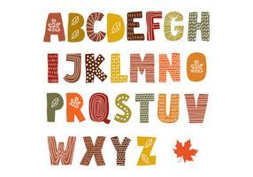 Mão desenhada alfabeto de outono vetor