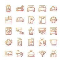 conjunto de ícones do hotel com estilo gradiente. vetor