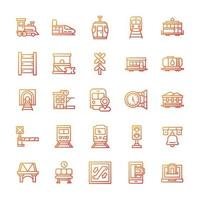 conjunto de ícones ferroviários com estilo gradiente. vetor