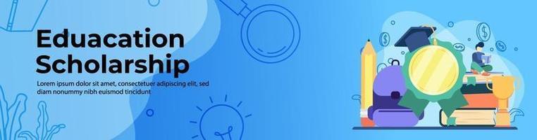 design de banner da web para bolsa de estudos educacional vetor