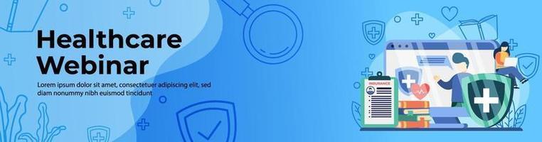 design de banner web seminário on-line sobre saúde vetor