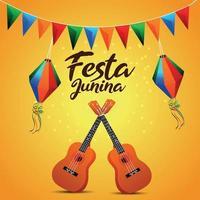 cartão convite festa junina com bandeira de festa colorida criativa e lanterna de papel e guitarra vetor