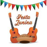 cartão de festa junina com guitarra criativa e bandeira de festa vetor