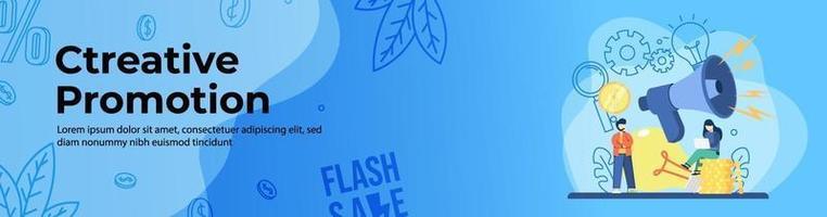 design de banner web de promoção criativa vetor