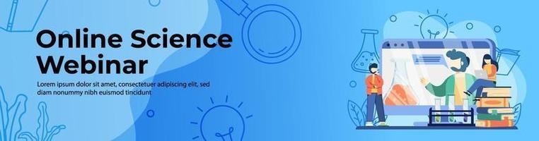 webinar web design de banner online de ciências vetor