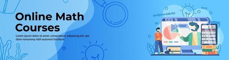 cursos de matemática online design de banner vetor