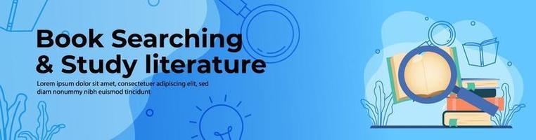 pesquisa de livros e estudo de literatura web banner design vetor