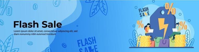 design de banner web de venda flash vetor