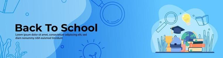 de volta ao design do banner da web da escola. mochila escolar, troféu, pilha de livros, ornamento de educação. banner de cabeçalho ou rodapé. vetor