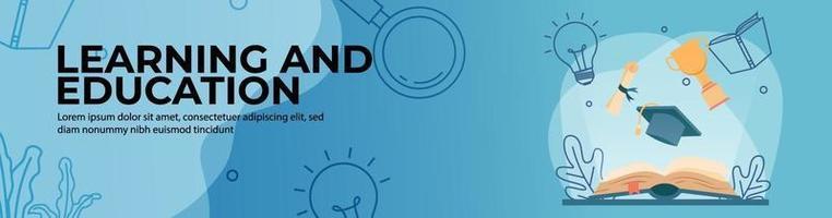 aprendizagem e educação web banner design vetor