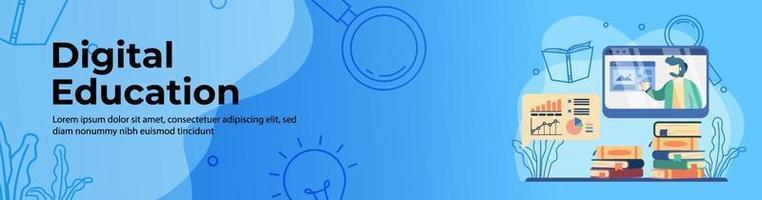 design de banner da web de educação digital. professor no monitor para explicar o gráfico. educação on-line, e-learning, banner de cabeçalho ou rodapé de conceito de plataforma de educação digital. vetor