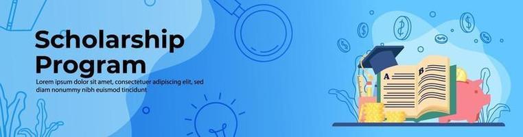 design de banner da web do programa de bolsa de estudos. grande livro com pilha de moedas, chapéu de formatura e cofrinho. empréstimo de estudante, conceito de bolsa de estudos. banner de cabeçalho ou rodapé. ilustração vetorial vetor