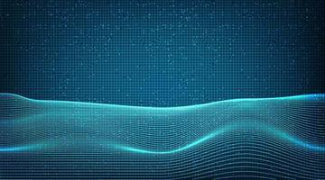 onda de linha dinâmica em fundo de tecnologia de circuito de microchip. vetor