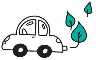 O doodle do carro. energia verde vetor