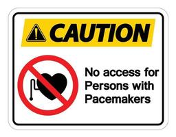 sem acesso para pessoas com sinal de símbolo de marca-passo em fundo branco vetor