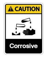 aviso símbolo corrosivo sinal em fundo branco vetor
