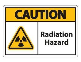 sinal de símbolo de perigo de radiação isolado em fundo branco, ilustração vetorial vetor