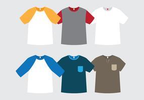 Modelos planos de camisetas vetor