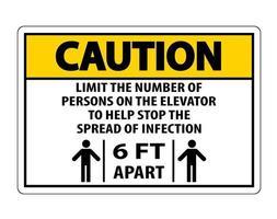 sinal de distanciamento físico de elevador de cuidado isolado em fundo branco, ilustração vetorial eps.10 vetor