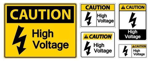 sinal de alta tensão de cuidado isolado em fundo branco, ilustração vetorial eps.10 vetor