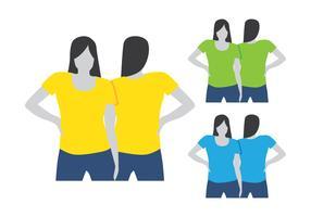 Mulheres vestindo modelo de camisa de T vetor