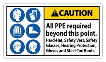 cuidado ppe necessário além deste ponto. capacete, colete de segurança, óculos de segurança, proteção auditiva
