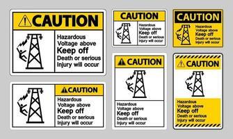 cuidado, tensão perigosa acima de evitar morte ou ferimentos graves ocorrerão símbolo de sinal vetor