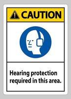 cuidado sinal ppe proteção auditiva necessária nesta área com o símbolo